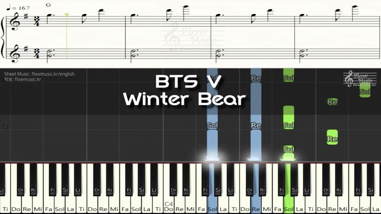 bts v winter bear piano sheet music piano cover chord youtube