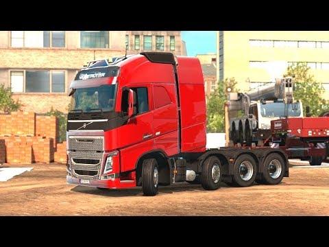 Euro Truck Simulator 2 - 8x4 Volvo FH Transporting a 55 Ton Crane  