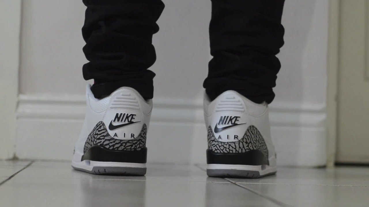 best service 2d8ea 89dd3 Nike Air Jordan 3 OG 88 White Cement On Feet HD