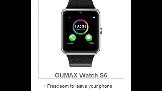 OUMAX S6 Bluetooth Smart Watch Bluetooth with SIM, SD Card and Camera Unbox and Review