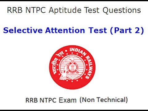RRB NTPC Aptitude Test (Selective Attention Test With Answer Key) Part 2