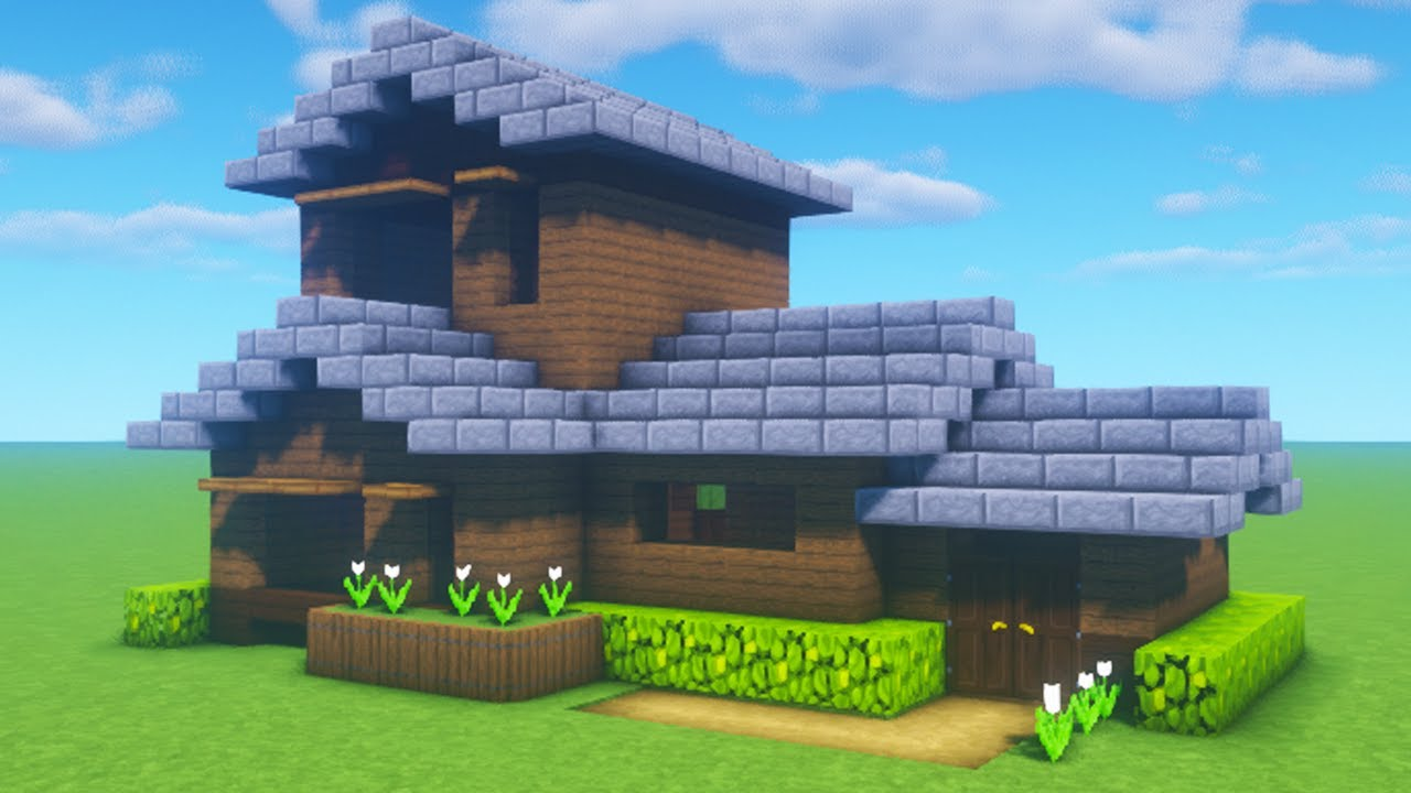 """Minecraft Tutorial: How To Make A Spruce Wood House 12 """"12 Tutorial"""""""