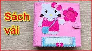 Quiet book dollhouse, Sách vải một ngày tới trường mèo Hello Kitty, Đồ chơi giáo dục (Chim Xinh)