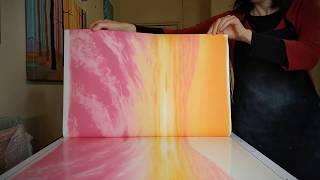 Printing summer sunset monotype / monoprint