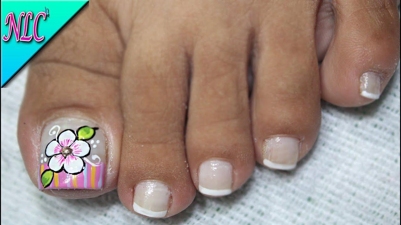 Decoración De Uñas Para Pies Flor Fácil De Hacer Flower Nail Art