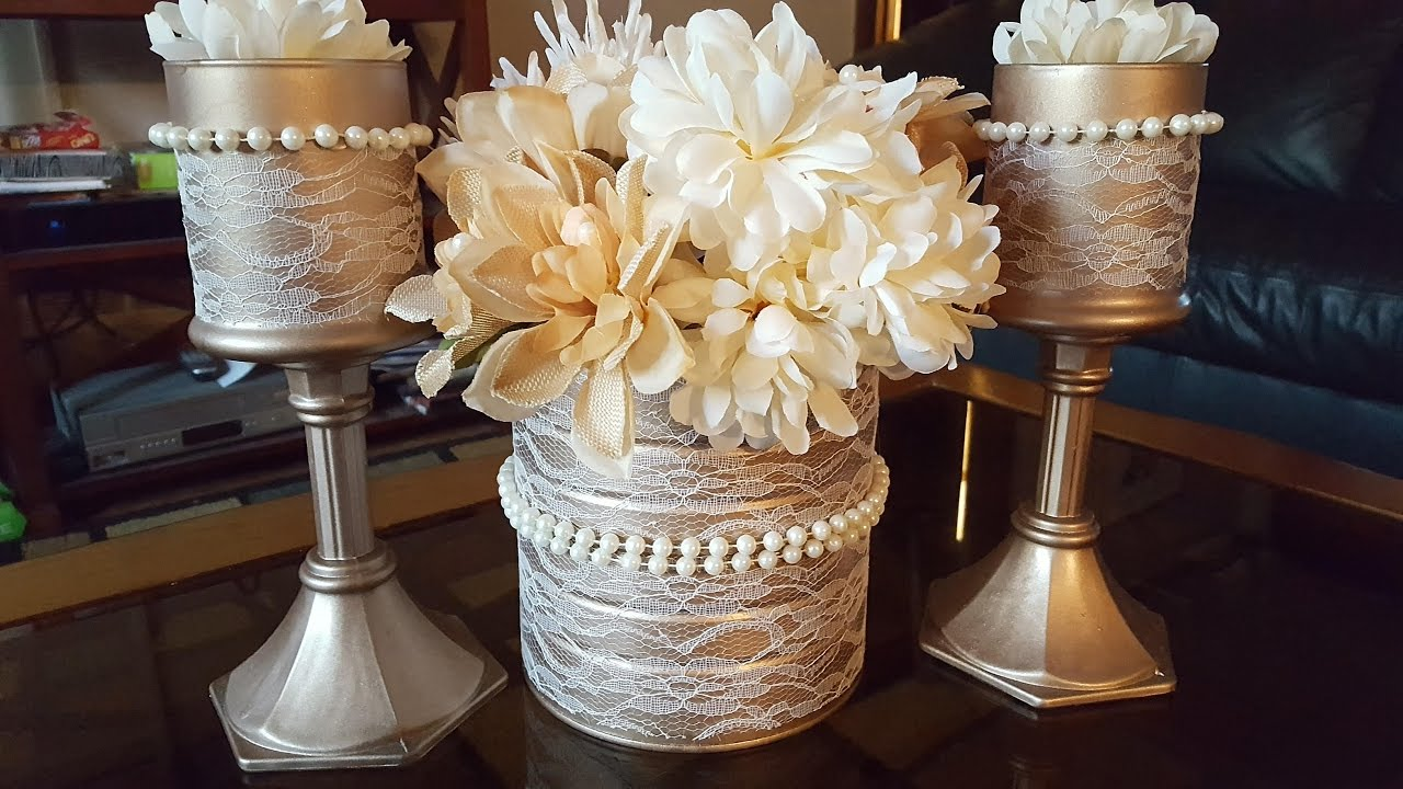 Upcycled Candle Holders Centerpiece Dollar Tree Diy