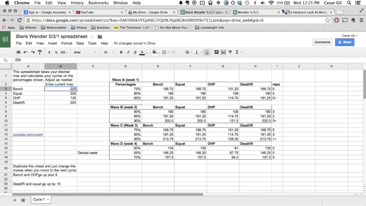 Wendler 5 3 1 explained free spreadsheet in description for Bodybuilding excel template