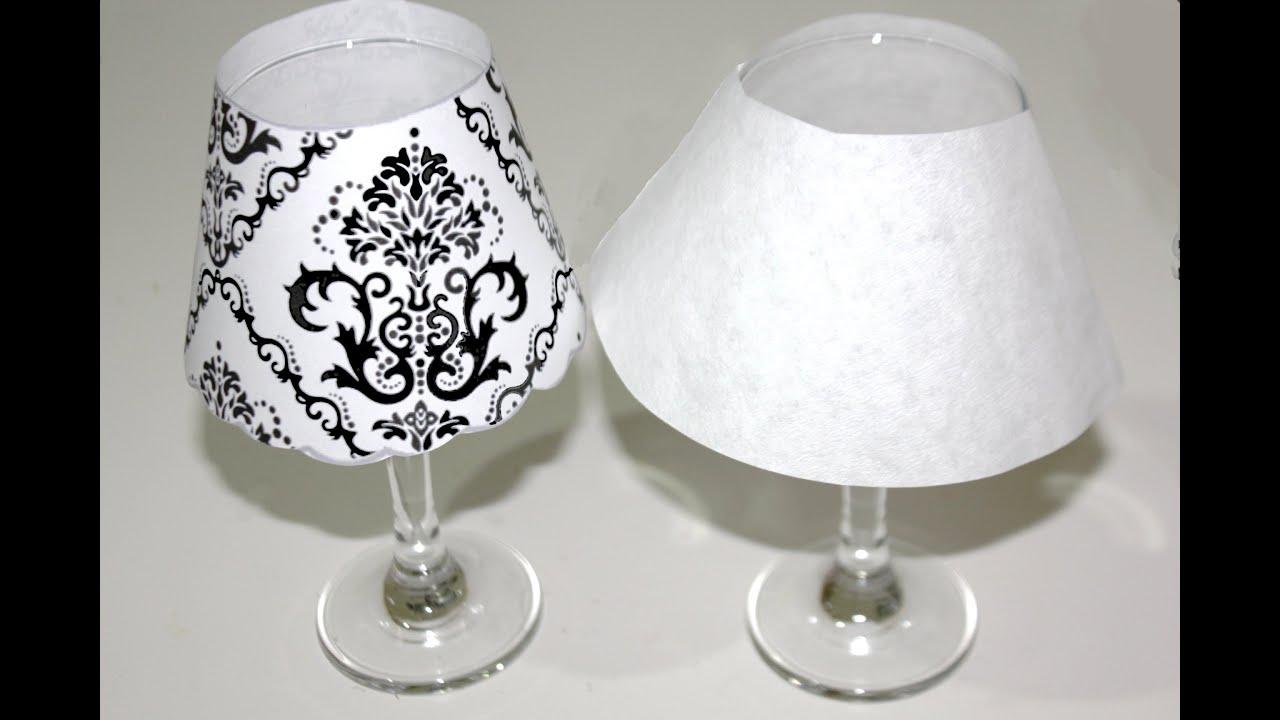 C mo hacer l mparas usando copas para cena rom ntica youtube - Como hacer una lampara de mesa ...