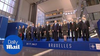 NATO leaders pose for official group photo at headquarters - Daily Mail