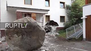 Austria: Huge 20-tonne rock smashes house in Solden