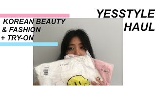 yesstyle haul // korean fashion & beauty haul + try-on !