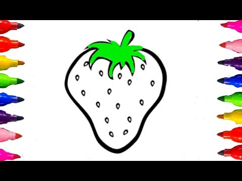 How To Draw And Color FRUITS STRAWBERRY Coloring Book For Kids Children Learning Colours Fun Art