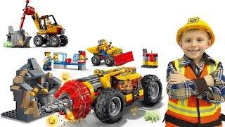 Скачать Лего Сити Тяжёлый Бур 60186 и Трактор для горных работ 60185 Видео для детей с Lego City и Даником