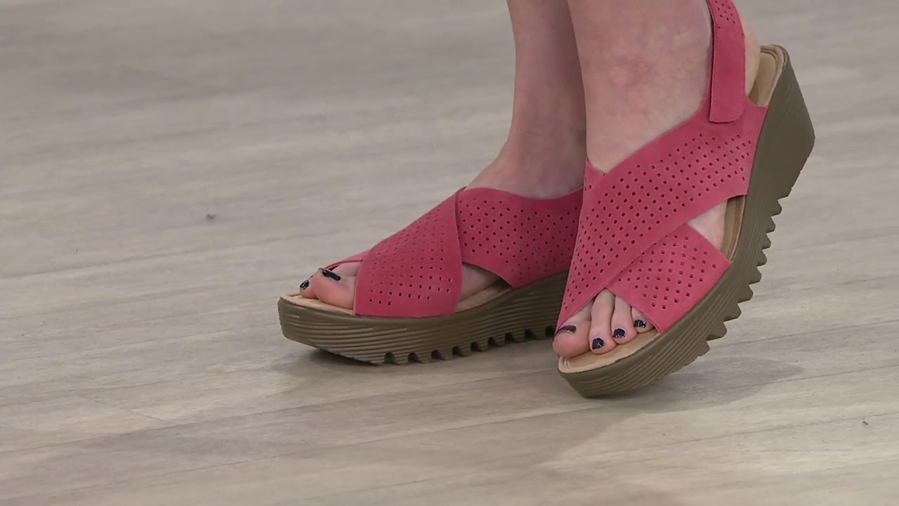 b5b81fdd5f9a Skechers Perforated Suede Slingback Demi-Wedges on QVC - YouTube