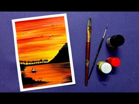 Peaceful Sunset Scenery Painting with Poster Colours | Step by Step