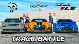 2020 Mustang Shelby GT500 vs Camaro ZL1 1LE vs Hellcat Redeye // DRAG RACE, ROLL RACE & LAP TIMES