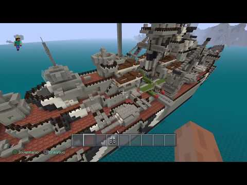 Minecraft  Battleship Bismarck using  jagthunder1 tutorial and something else built by me