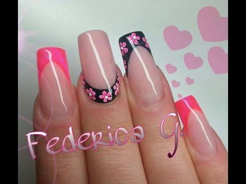 Eccezionale French rosa fluo e nero, french reverse e fiorellini in gel - YouTube YZ29