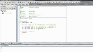 Python Lesson with PyScripter - Quadratic Formula and more - part 1
