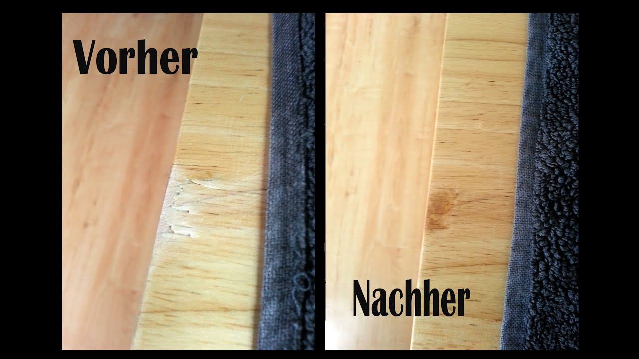 how to fix scratched wooden table with uv gel kratzer im holztisch mit uv gel entfernen youtube. Black Bedroom Furniture Sets. Home Design Ideas