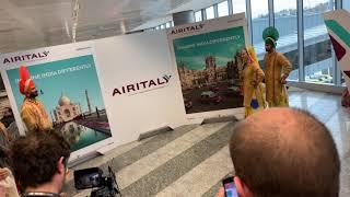 Cerimonia inaugurale volo Air Italy IG927 Milano MXP Mumbai - performance Folk Bhangra Academy