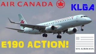 """Air Canada & """"American Airlines"""" Embraer ERJ-190 Landing at Laguardia Airport (HD)"""