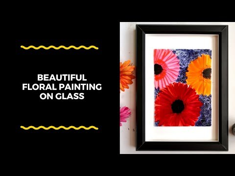 Simple glass painting technique to create an abstract floral artwork|freehand painting for beginners