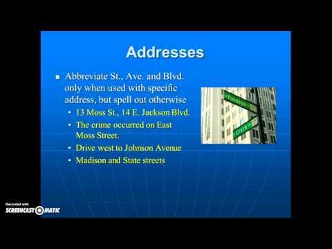 AP Style - Abbrev & Addresses