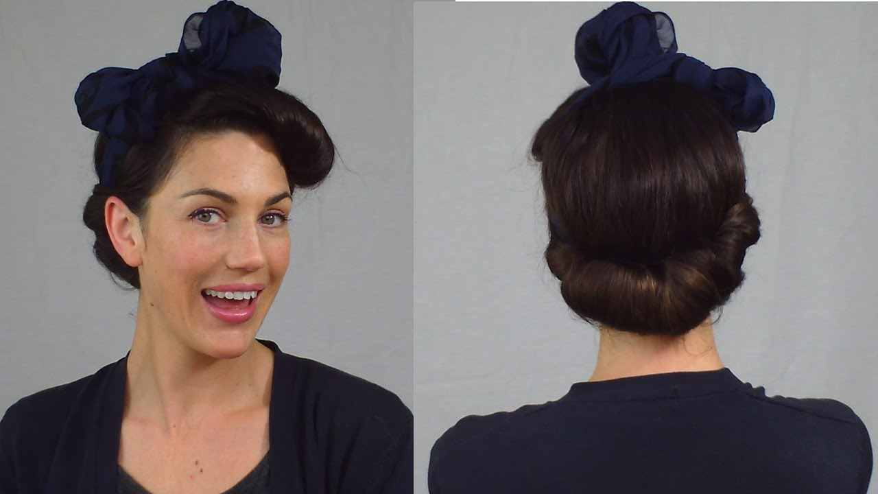 50s style hair updos easy pin up hairstyle vintage scarf roll updo 6965