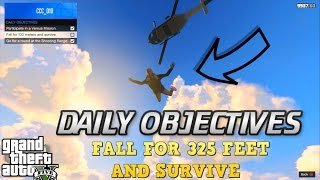 GTA 5  - Fall for 325 feet (100 meters) and Survive - DAILY OBJECTIVES - How to complete EASY