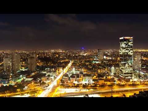 stock footage tel aviv skyline from day to night time lapse