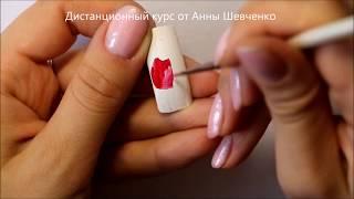 Снегирь на ногтях. роспись
