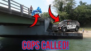 INSANE BRIDGE JUMPING FLIPS! (COPS CALLED)
