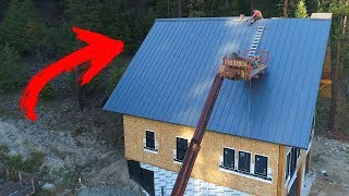 Riding WORLDS BIGGEST Mechanical Bull! (Metal Ridge Cap Install)