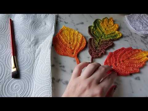 Crocheted Autumn Leaves (hand dying process)