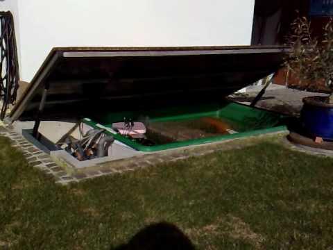 holzdeck ffnet mit spindelmotor youtube. Black Bedroom Furniture Sets. Home Design Ideas