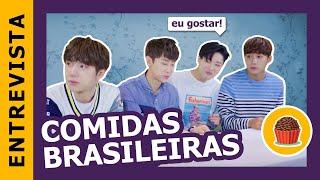 vuclip ÍDOLOS COREANOS provando comidas BRASILEIRAS   Kpop Idols try brazilian snacks feat. UNIQ [ENG/ESP]