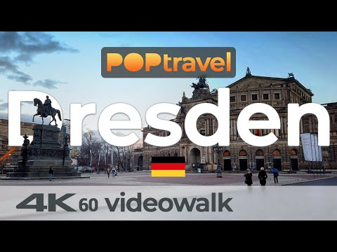 Walking in DRESDEN / Germany - Central Station to Old Town and back - 4K 60fps (UHD)