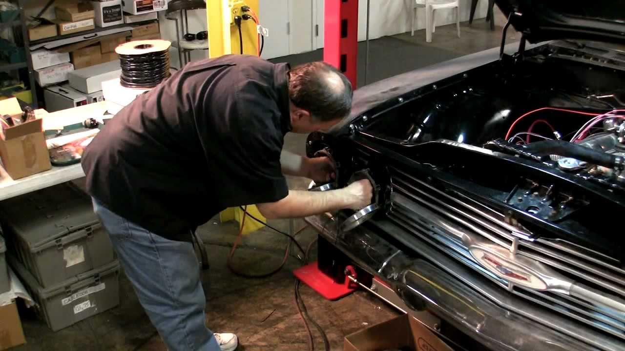 59 60 Impala Classic Update Kit Part 4 Headlight Installation 1965 Wiring Harness Youtube