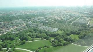 Looking at BMW Headquarters, Museum, and Factory, from the Olympiaturm, in Munich, Germany