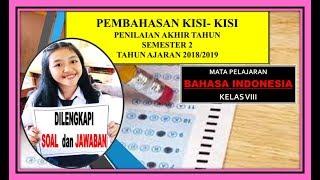 Pembahasan Kisi-kisi Pat Bahasa Indonesia Kelas 8 Tahun 2019