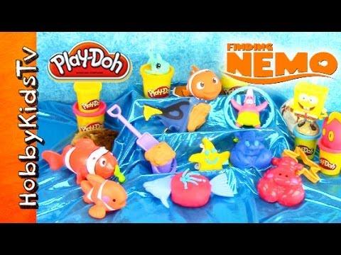 PLAY-DOH Nemo Surprise Toys! SpongeBob Rio Monsters U Red Bird Eggs Madagascar LPS by HobbyKidsTV