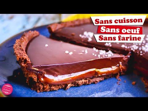 🍫-tarte-chocolat-caramel-spéciale-confinement-:-sans-cuisson,-sans-Œuf,-sans-farine-!-🍫