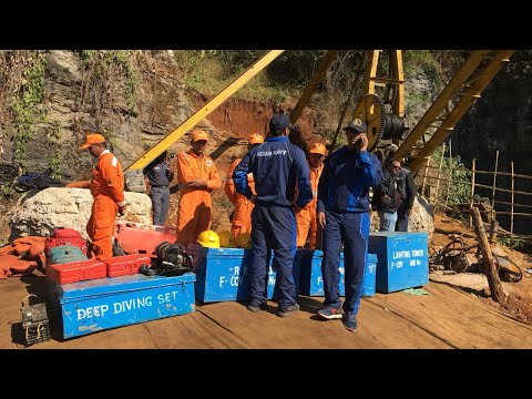 Indian Navy diver, NDRF personnel enter mine shaft in Meghalaya