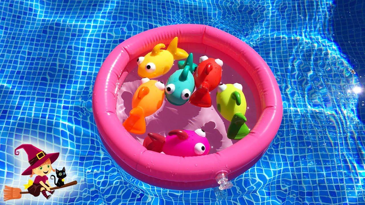 Juguetes de piscina jugamos a pescar pesecitos y for Juguetes de piscina