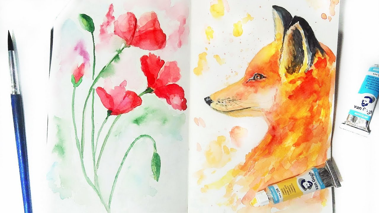 Watercolor Fox And Poppy Flowers Tutorial Diy Painting Ideas