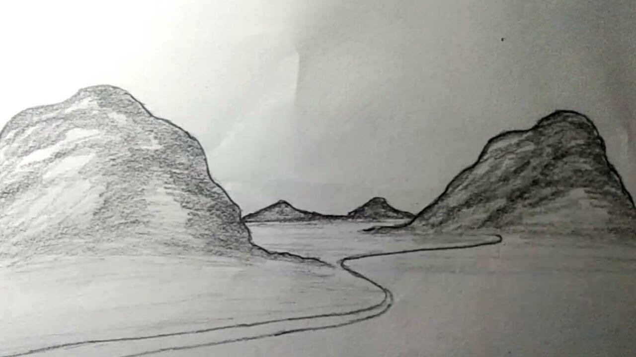 How To Draw Hillside Landscape Using Pencil How To Draw Hills For Easy Youtube