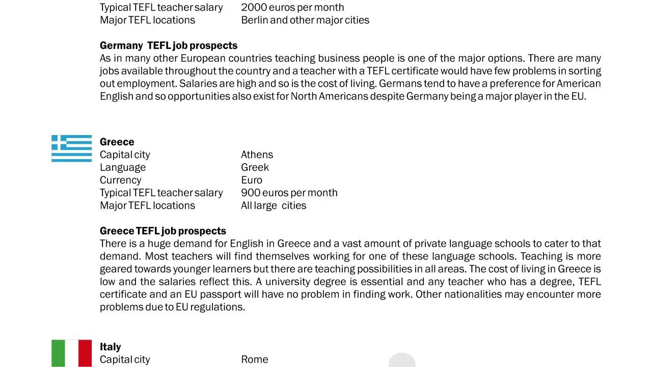 TEFL/TESOL Guide - Germany, Greece & Italy | International TEFL and TESOL  Training (ITTT)