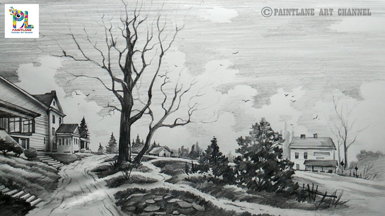 How To Sketch And Shade A Landscape Scenery With Pencil