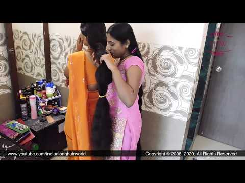 Sonali & Ganga's Each Other Cobra South Indian Style Braid Sniffing | Two Rapunzel Braids Smelling.